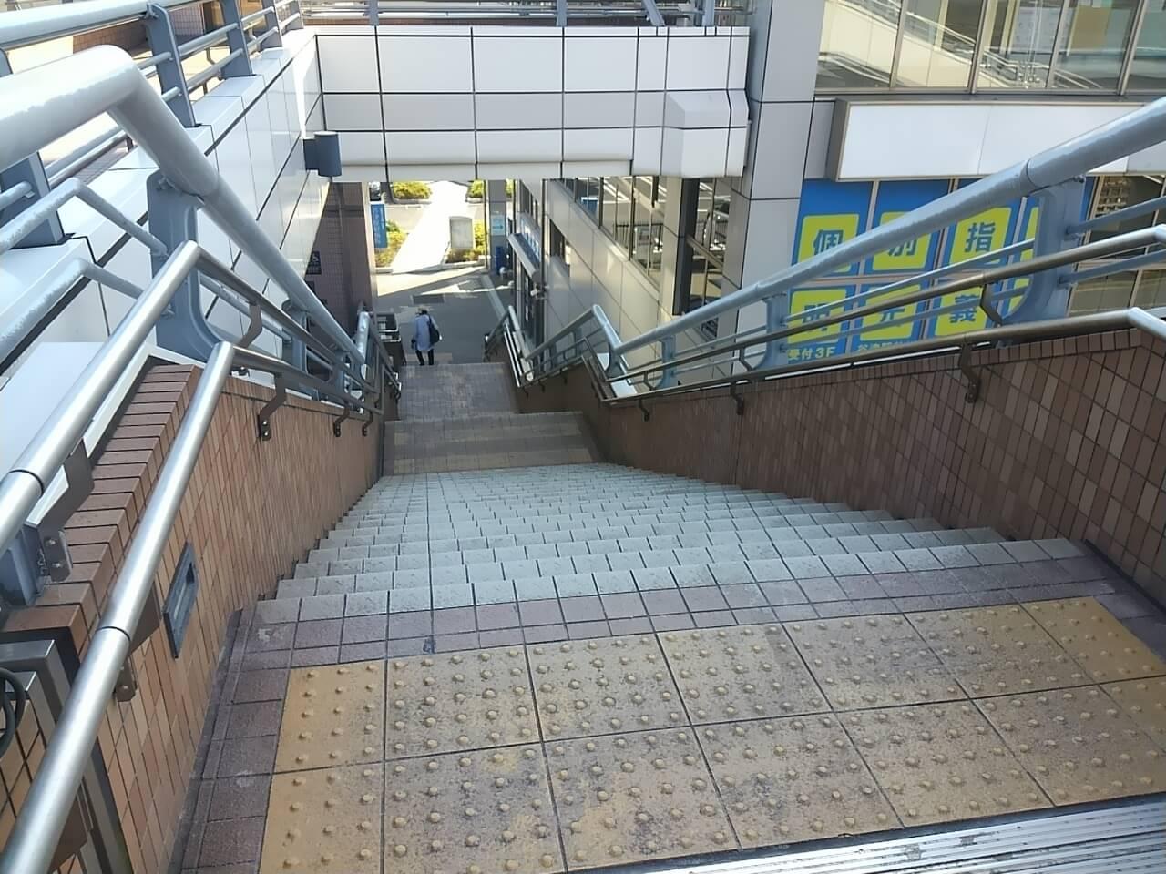 谷津バラ園の最寄り駅からの行き方の谷津駅階段