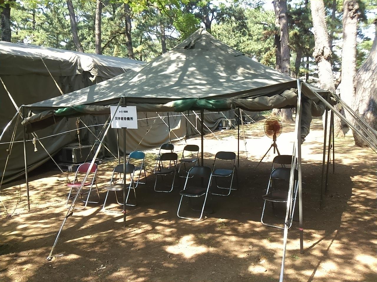 習志野駐屯地の夏祭りのお化け屋敷待機所