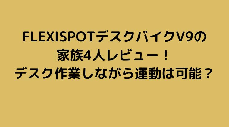 FLEXISPOTデスクバイクV9レビュー